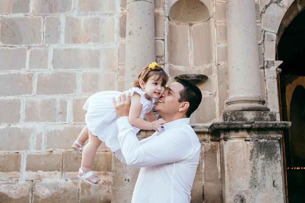 Padre e hija en medio de su photoshoot