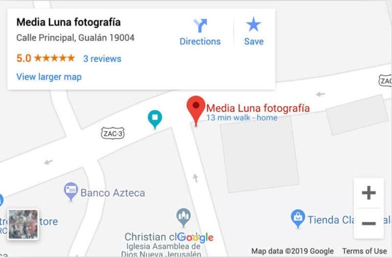 Ubicación Media Luna Fotografía en Google Mpas